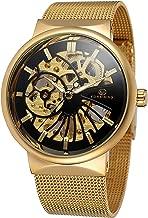 Mastop Mens Unique Skeleton Watch Mechanical Stainless Steel Mesh Band Waterproof Luminous Wrist Watch