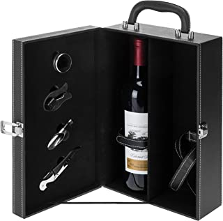 MyGift 2 Bottle Modern Black Top Handle Travel Wine Carrier Case with 4 Piece Wine Accessory Set