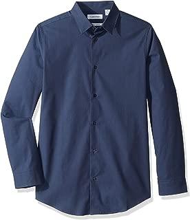 Calvin Klein Boys' Long Sleeve Solid Button-down Dress Shirt