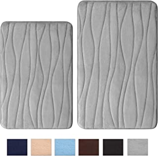 Uphome Memory Foam Bath Mat Set of 2 Piece 17x26 + 20x31 inch Gray Wave Striped Non-Slip Bathroom Rug Set Thick Flannel Absorbent Carpet Velvet Machine Washable Doormat Floor Rugs