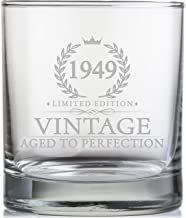 70th Birthday Gifts for Men Turning 70 Years Old - 11 oz. Vintage 1949 Whiskey Glass - Funny Seventieth Whisky, Bourbon, Scotch Gift Ideas, Party Decorations and Supplies for Him, Husband, Dad, Man