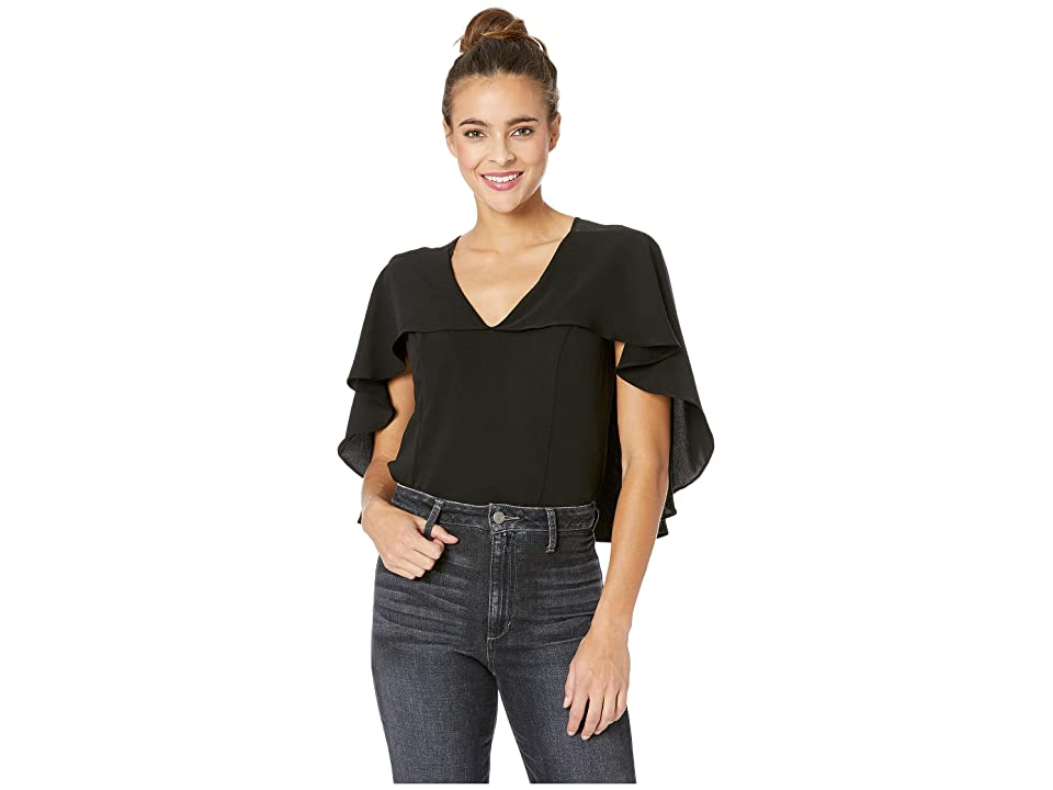 Image of Adelyn Rae Drea Woven Cape Top (Black) Women's Clothing