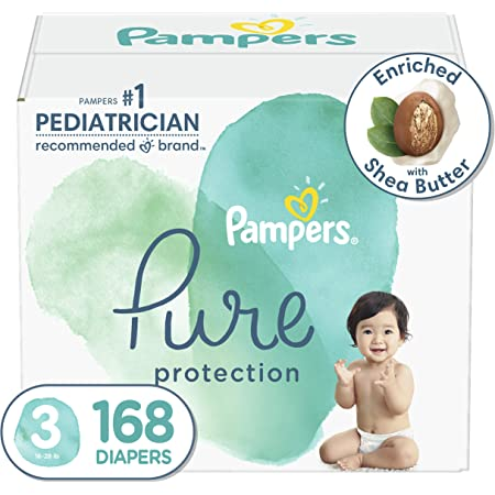 Diapers Size 3, 168 Count - Pampers Pure Protection Disposable Baby Diapers, Hypoallergenic and Unscented Protection, ONE Month Supply (Packaging & Prints May Vary)
