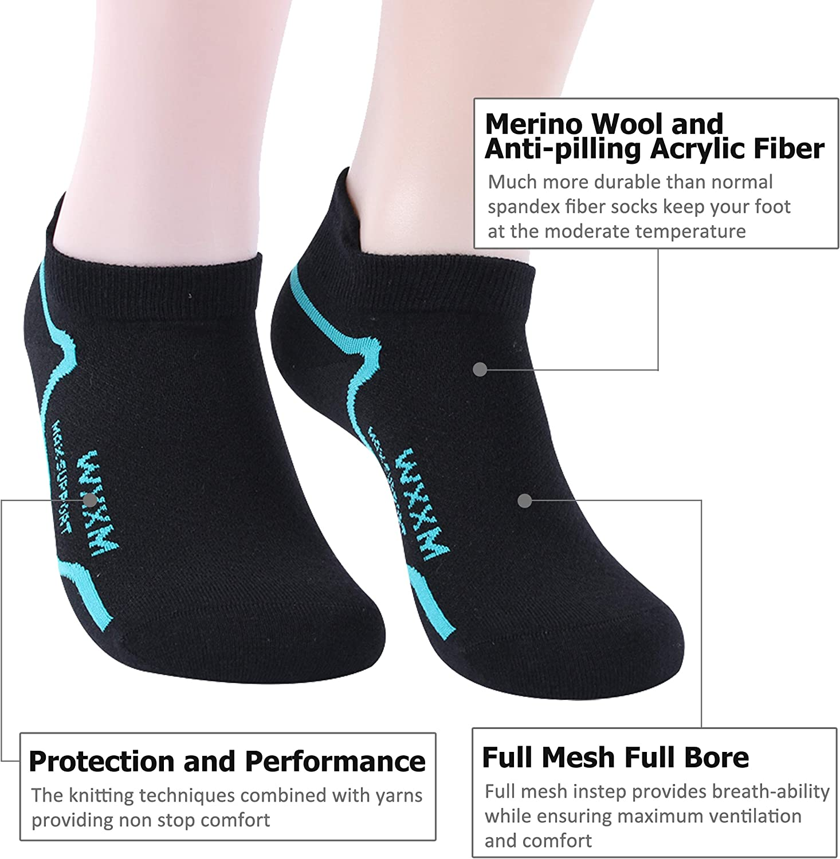 Unisex Light Breathable Thin No Show Liner Socks WXXM Athletic Merino Wool Warm Socks