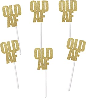 Old AF Cupcake Toppers for Birthday Party (Gold Glitter) - Over the Hill Dirty Thirty Decorations Cake