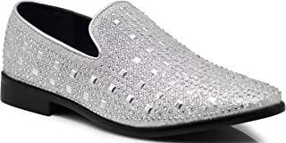 SPK11 Men's Vintage Fashion Rhinestone Designer Dress Loafers Slip On Shoes Classic Tuxedo Dress Shoes