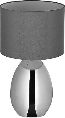 Relaxdays 10032219 Lampe de Table de Nuit Tactile, réglable, Moderne avec 3 Niveaux, E14 veilleuse avec câble 49x30 cm, Argent l