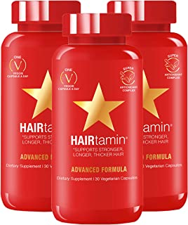 HAIRtamin Fast Hair Growth Biotin Vitamins Gluten Free thirty Vegetarian Capsules Supports Stronger Longer Thicker Hair Re...
