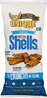 Unique Pretzels - Original Pretzel Shells, Delicious Vegan Snack Pretzels Individual Packs, Large OU Kosher Pretzels, 10 Ounce Bags, 12 Pack