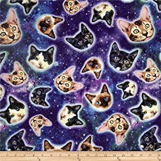 Timeless Treasures 0477442 Cat Heads in Space Fabric by The Yard, Galaxy
