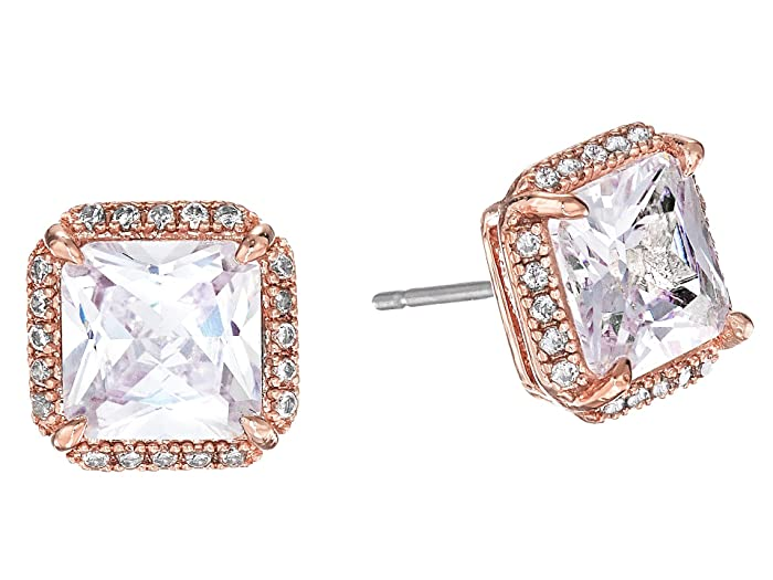 Kate Spade New York Save The Date Pave Princess Cut Stud Earrings (Clear/Rose Gold) Earring