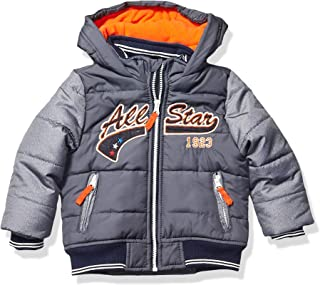 LONDON FOG Boys' Little Quilted Bomber Jacket with Hood, Grey Allstar, 4