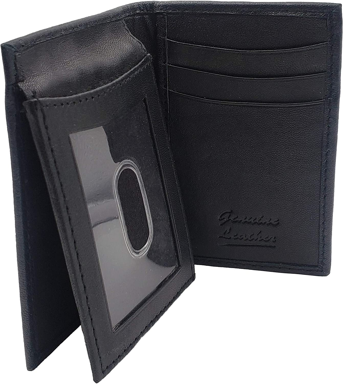 AG Wallets Men's Genuine Leather Unique L Shape Billfold with Picture Inserts