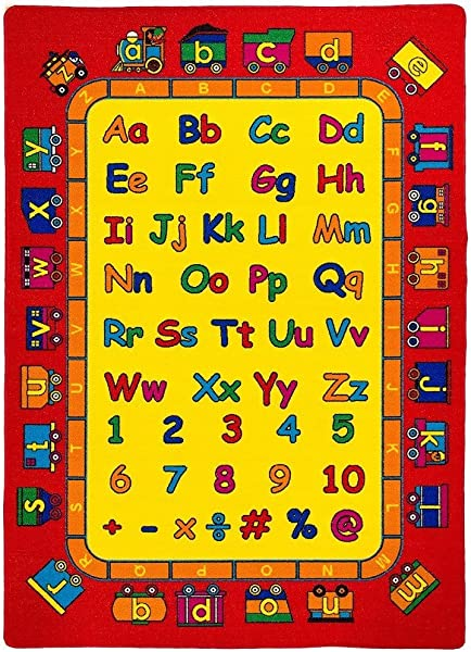 Kids Baby Room Daycare Classroom Playroom Area Rug ABC S Alphabet Numbers Train Educational Fun Non Slip Gel Back Bright Colorful Vibrant Colors 5 Feet X 7 Feet