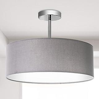 Plafonnier, abat-jour en tissu moderne, grand abat-jour de tambour gris, suspension ronde, pour salon de la chambre à couc...