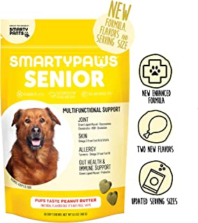 Supplement Dog Chew: Glucosamine, Probiotics, Chondroitin, Fish Oil Omega 3, MSM for Hip and Joint Support, Organic Turmeric by Smarty Paws (60 Ct) Packaging May Vary