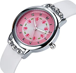 Girls Watches,Flowers Diamond Wrist Watch Leather Band Quartz Cute Waterproof Watches for Kids Girls