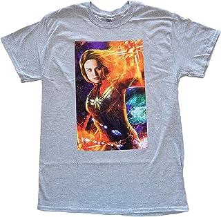تي شيرت رجالي ملصق فيلم Marvel Captain Movie (مقاس كبير) رمادي