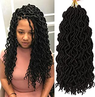 7 Packs Deep Wavy Faux Locs Crochet Hair Curly Goddess Locs Crochet Braids Soft Synthetic Dreadlocs (18 Inch, 1B#)