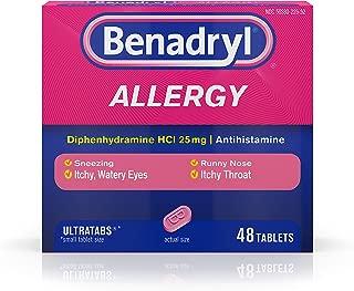 Benadryl Ultratabs Antihistamine Allergy Medicine, Diphenhydramine HCl Tablets, 48 ct