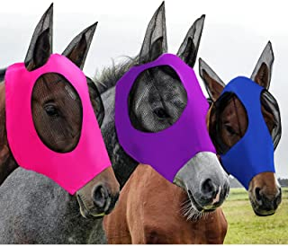 3 Pieces Horse Fly Mask Horse Mask with Ears Smooth and Elasticity Fly Mask with UV Protection, 3 Colors (L, Purple, Royal...