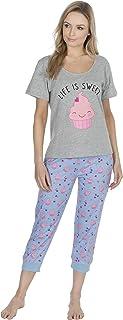 Fowever Dreaming in Jersey di Cotone Camicia da Notte con Motivo Decorativo