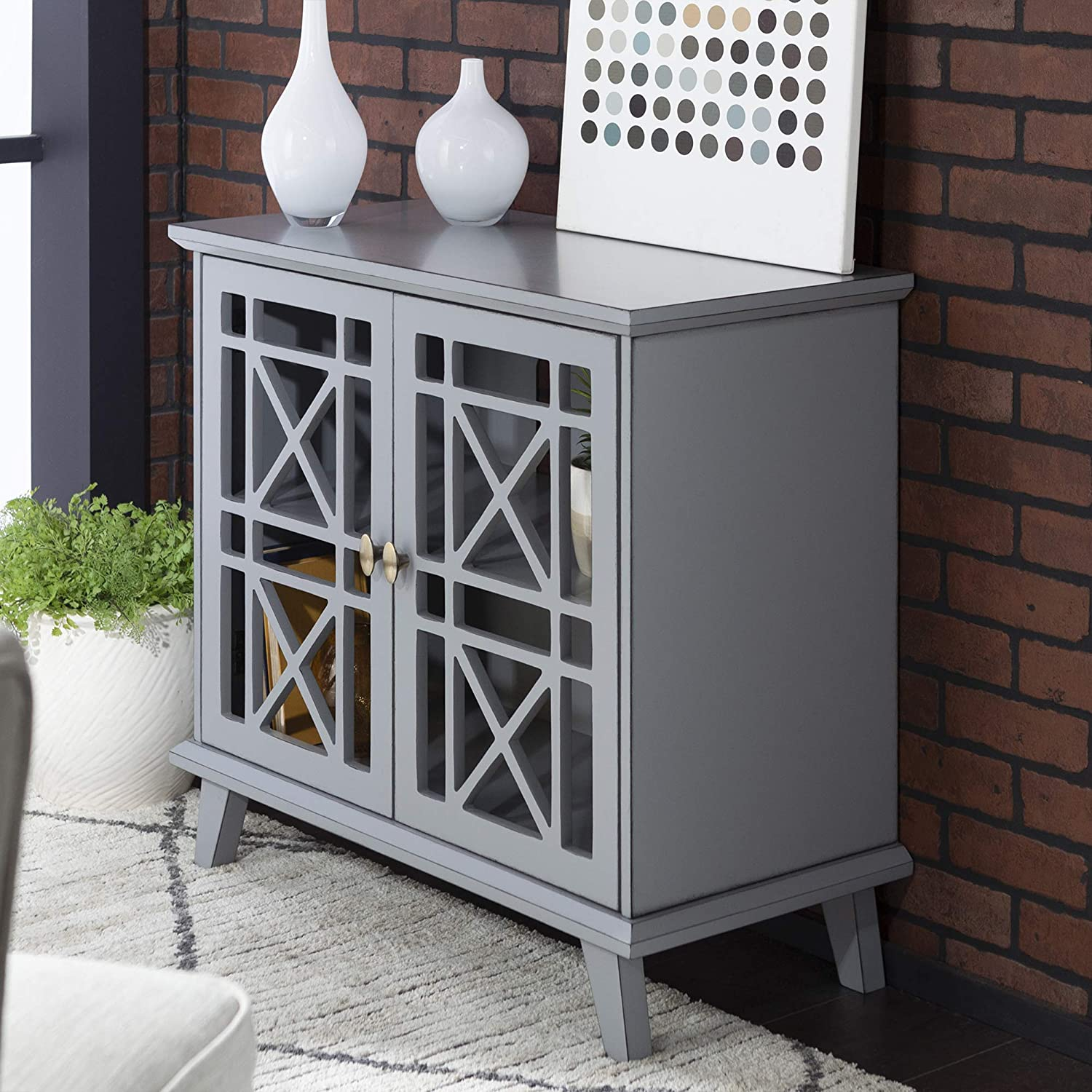Walker Edison Regular discount Wood Accent Quality inspection Buffet Serving Cabin Sideboard Storage
