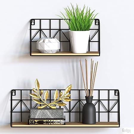 Gadgy estanteria de Pared metalica flotante  Juego de 2 estanterias metalicas y Madera   45 x 12 x 15 & 30 x 12 x 15 cm.   Baldas Pared decorativas   ...