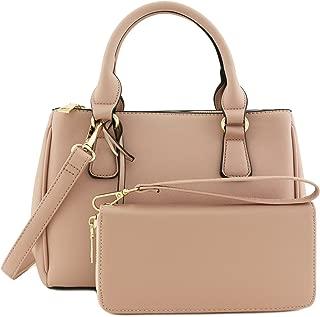 2pcs Set Classic Triple Zip Top Handle Small Satchel Bag with Zip Around Wallet