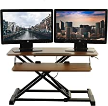 TechOrbits Standing Desk - Stand Up Desk Converter and Monitor Riser - Height Adjustable Sit Stand Tabletop Workstation Wo...