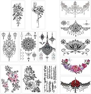 Konsait 13 Sheets Temporary Tattoos for Girls Women Adult Festive Tattoo Fake Waterproof Temporary Tattoos Black Body Art Sticker Cover Up Back Arm Neck, Flower, Mehndi