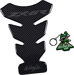 REVSOSTAR Real Carbon Look, Motorcycle Reflective Sticker, Vinyl Decal Emblem Protection, Gas Tank Pad, Tank Protector for Ninja Zx6r with Keychain, 2 Pcs Per Set