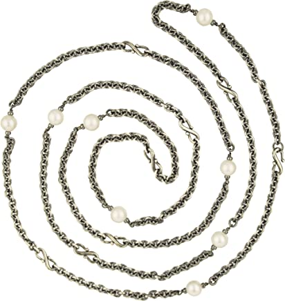 f4184414e0363 Pearl and Antiqued Sterling Silver Chain Necklace
