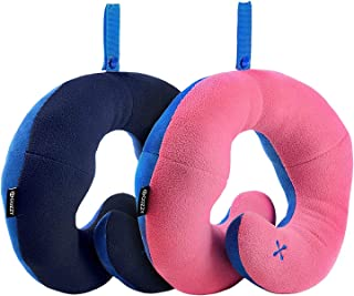 BCOZZY Chin Supporting Patented Travel Pillow - Prevents The Head from Falling Forward in Any Sitting Position, Providing Comfort and Support for The Neck and Head. Adult Size, Set of 2 (Navy + Pink)