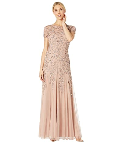 Adrianna Papell Floral Beaded Godet Evening Gown (Rose Gold) Women