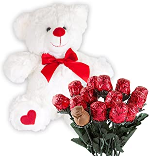 Valentines Day Gift Basket | Teddy Bear Plush 12 Inches & A dozen Belgian Milk Chocolate Roses | For Her Wife Girlfriend M...