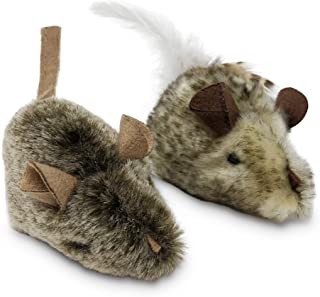 Our Pets Play-N-Squeak Twice The Mice Cat Toy, 2pc (Interactive Cat Toy, Catnip Toy, Catnip Toys for Cats, Real Mouse Electronic Sound, Catnip, Cat Toys)