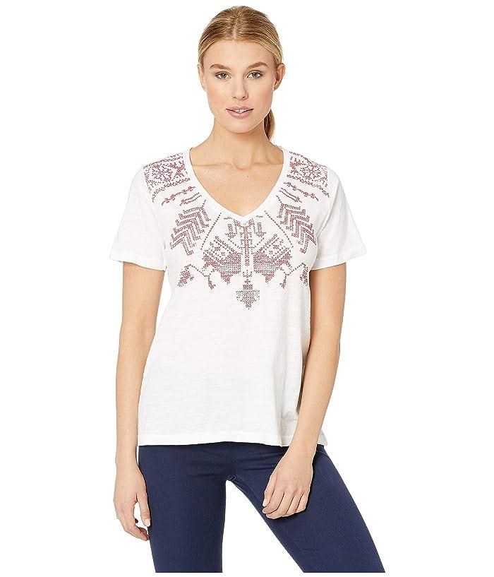Lucky Brand  V-Neck Print Tee (Lucky White) Womens T Shirt