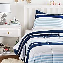Amazon Basics Easy-Wash Microfiber Kid's Comforter and Pillow Sham Set - Twin, Navy Stripes