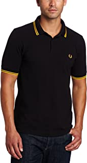 fred perry black and yellow polo
