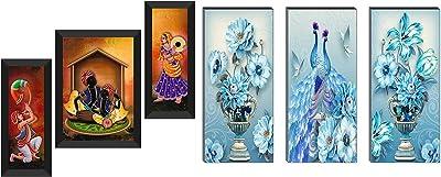 SAF Set of 3 Musical & Dancing Modern Art Digital Reprint Painting(22 Inch X 14 Inch,6518) & 6 Mm MIFF Peacock Designer Self Hanging Adhesive Digital Reprint 15 Inch X 18 Inch Painting Combo