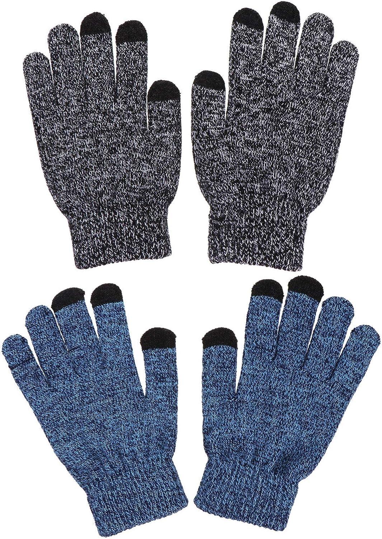 SOIMISS Unisex Winter Warm Thicken Gloves Touch Screen Gloves Knitted Mittens for Men Women 2 Pairs