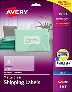 Avery Clear Easy Peel Shipping Labels for Inkjet Printers 2
