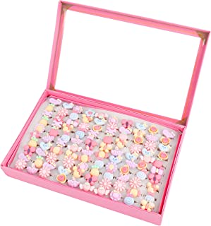 SOTOGO 100 Pcs Kids Little Girl Jewelry Adjustable Rings Girl Pretend Play and Dress up Rings,Little Girls Gift Rings