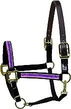 Perri's Sparkle Ribbon Nylon Safety Halter Cob Black/Purple Sparkle Ribbon Halter, Black Purple