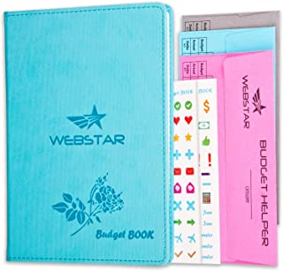 Webstar Budget Book Planner Organizer Journal - 3 Budget Envelopes & 160 Stickers Bonus | Undated Hardcover Monthly Tracker 8.2