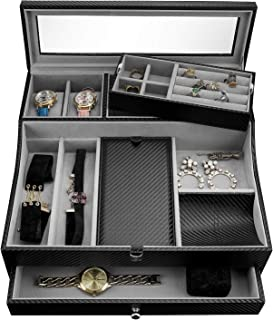 Valet Tray for Men| Sleek Dresser-Organizer Box for Storage & Display| Perfect for Phone, Watches, Sunglasses, Jewelry, Wallet, Rings, Necklace & More| Carbon Fiber & Faux Leather