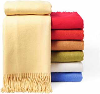 CUDDLE DREAMS Premium Cashmere Throw Blanket with Fringe, Luxuriously Soft (Yellow)