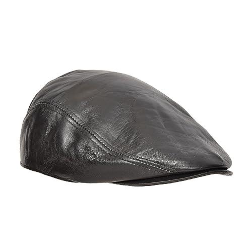 12078670900e Genuine Black Leather Flat Cap English Granddad Hat Baker-boy Classic Cap -  Arthur