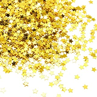Star Confetti - Metallic Glitter Foil Confetti Star Sequins - Ideal for Balloons, Tables, Art Crafts, Wedding Festival Decor, Bachelorette Party Supplies, DIY Decorations - Gold, 0.1 inches, 7-Ounce